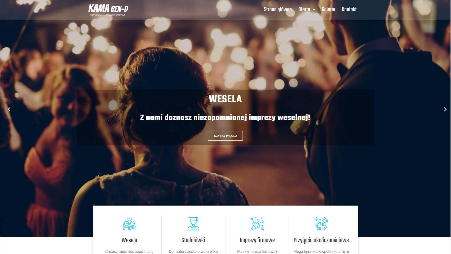 profesjonalna strona rozbudowana www dla zespołu muzycznego kama ben-d