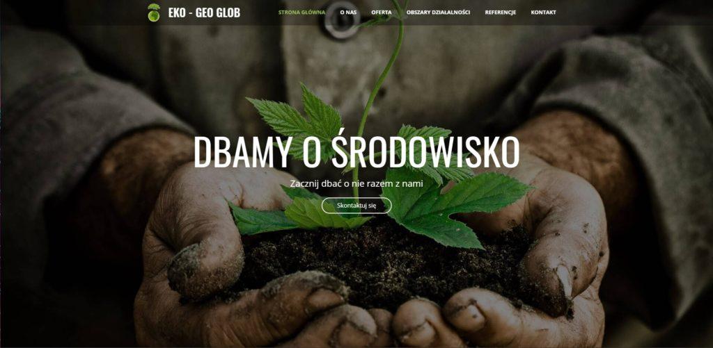 Eko -geo glob strona o środowisku landing page eko geo glob
